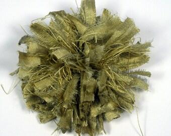 """Green Silk Flower Pin 5"""" Pure Silk Flower Pin Silk Flower Pin Brooch Silk Dupioni Flower Pin Green Flower Brooch Green Pin"""