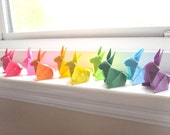 RESERVED 6 Origami Bunny Rabbits - Rainbow Colors