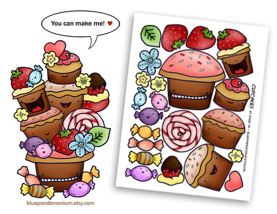 Cupcakes, Candies, and Strawberries - PDF, JPEG, or GIF clip art