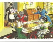 New York Vintage 1970s Alfred Mainzer Dressed Cats Postcard - The Tea Party