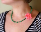 Small Pink Rose on Green Rosary Chain Necklace