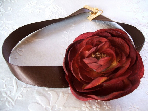 Wine Red Rose and Chocolate Brown Satin Ribbon Choker