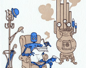 Pipe and Slippers - letterpress card