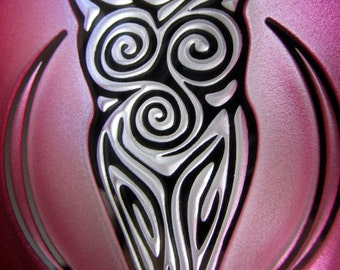 Magenta  Goddess Suncatcher/Ornament - Etched, Painted and Mirrored Glass