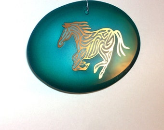 Teal Horse Suncatcher/Ornament - Etched, mirrored and painted glass