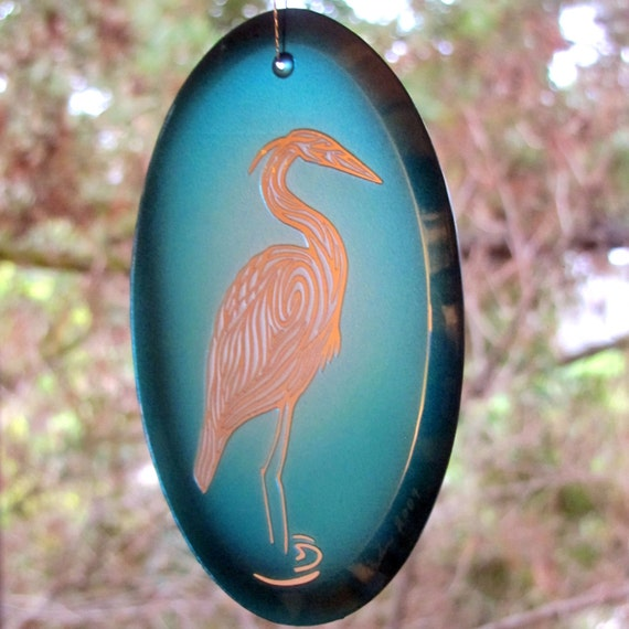 Green/Blue Heron Suncatcher/Ornament - Etched, mirrored, and painted glass