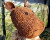 Jelly the Pigmy Hippo - A Honey Suede Soft Sculpture