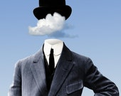 Head In The Clouds 24x36 Stretched Canvas Surreal Fine Art Home Decor Print by Kenneth Rougeau