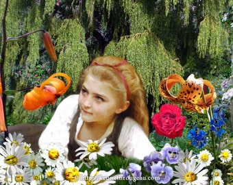 Garden Of Live Flowers - 11x14 Alice In Wonderland Surreal Fantasy Fine Art Collage Print