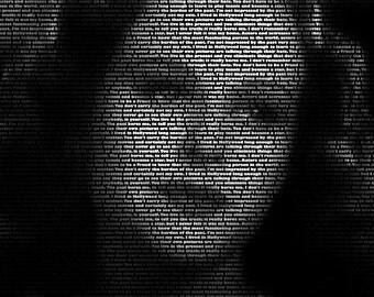 Paulette Goddard - 11x14 Typographical Portrait Fine Art Print