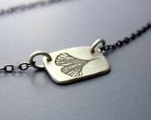 Tiny Rectangular Ginkgo Leaf Necklace - Sterling Silver