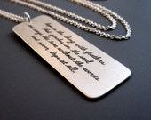 Emily Dickinson Necklace - Etched Sterling Silver - Inspirational Quote