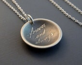 Small Forever and Always Necklace - Etched Sterling Silver