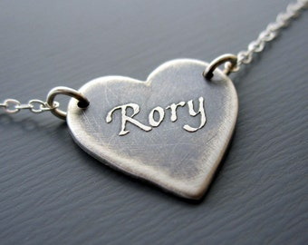Small Personalized Heart Necklace - Heart Jewelry