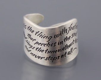 Hope is the Thing With Feathers Ring - Sterling Silver Emily Dickinson Ring