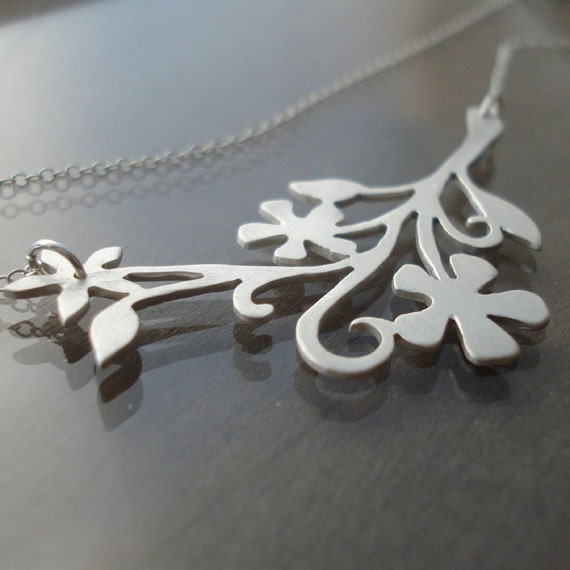 Intricate Floral Branch Necklace