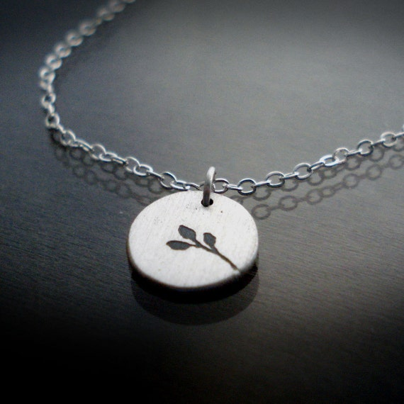 Tiny Silver Necklace - Branch with Leaves - Nature Jewelry