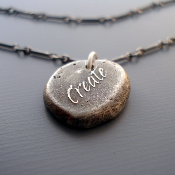 Create Necklace - etched sterling silver - OOAK