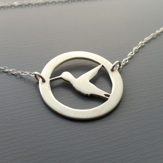 Small Hand Cut Silver Hummingbird Necklace