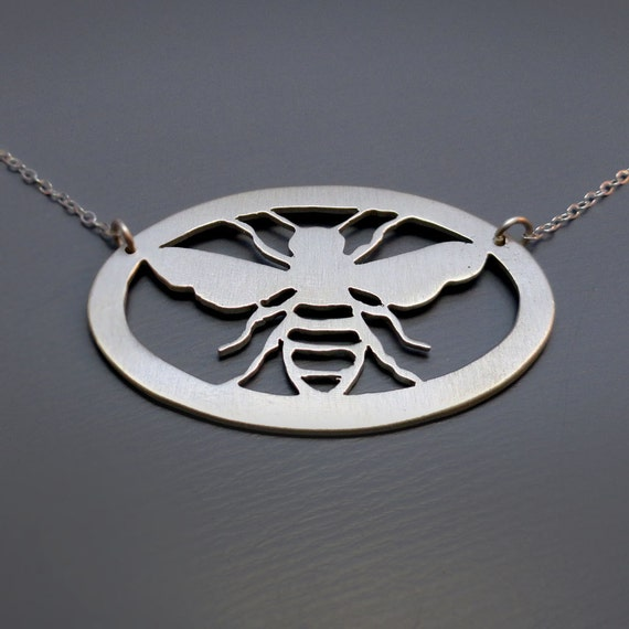 Hand Cut Silver Honey Bee Necklace - Nature Jewelry