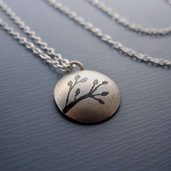 Small Silver Necklace - Domed Branch - Nature Jewelry