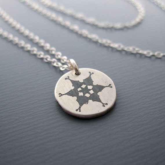 Tiny Silver Snowflake Necklace - Etched Pendant
