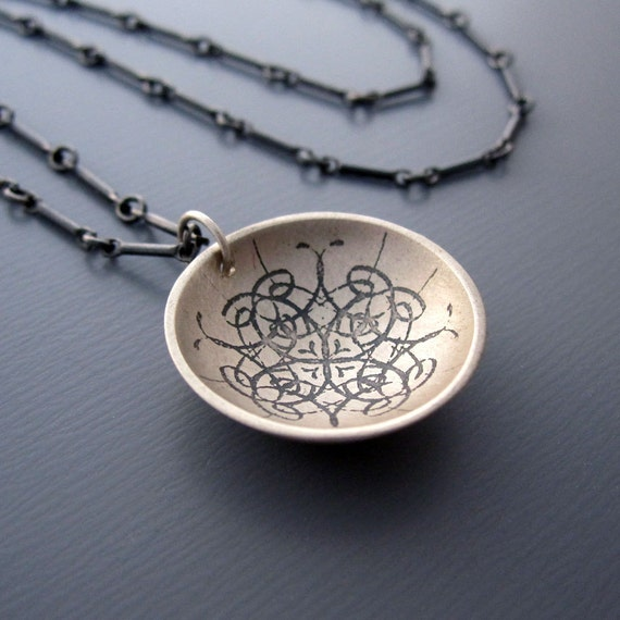 Cupped Kaleidoscope Necklace - Etched Sterling Silver Pendant