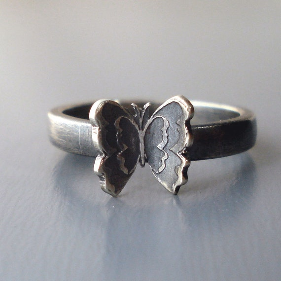 Tiny Butterfly Ring - Sterling Silver
