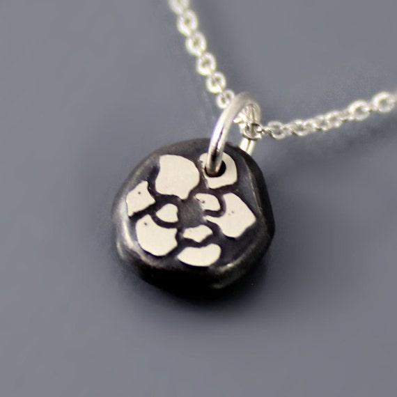 Tiny Etched Magnolia Blossom Nugget - Sterling Silver Necklace