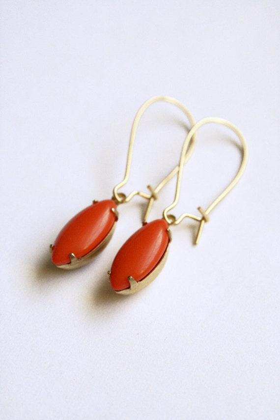 Mariella Earrings - Tangerine Tango Glass