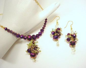 Purple Crystal Bead Necklace of Grapes on a Vine