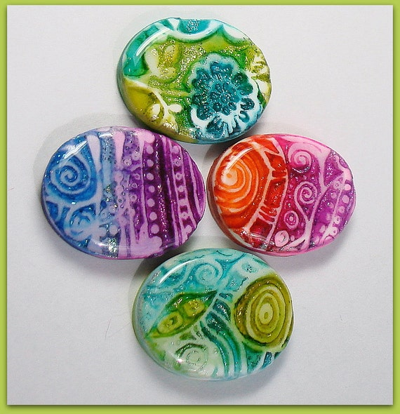 Reserved  for ThunderBoltBeadwork - Oval Watercolor Cabochon Pendants Set  27mm Faux Lampwork Polymer Clay
