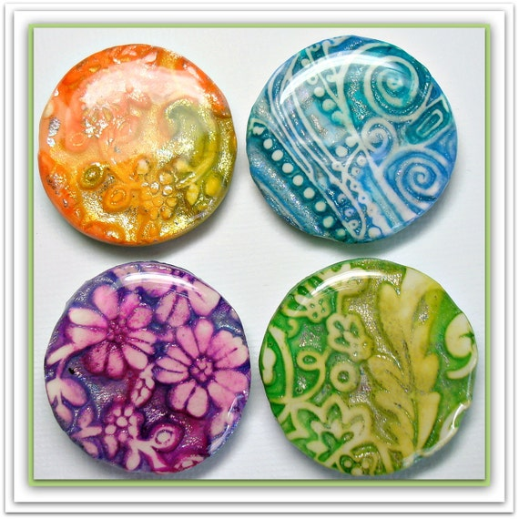 Cabochon Pendants Multi-Color Set of 4 Faux Dichroic  Polymer Clay 27mm