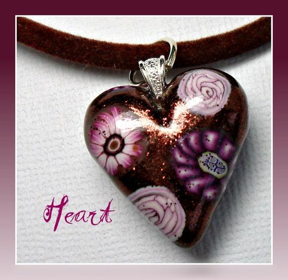 "Polymer Clay 1"" Chocolate Cherry Heart Pendant"