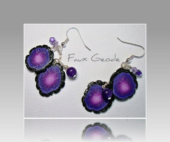 Polymer Clay Purple Faux Geode Rock Slice Earrings