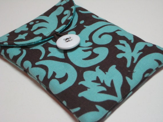 Gadget Keeper in Brown and Teal Damask