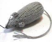 Knit Catnip Mouse Cat Toy in Heather Gray