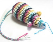 Knit Catnip Mouse Cat Toy in Bright Cotton Yarn