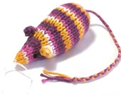 Catnip Mouse Cat Toy in Bright Orange, Purple, Pink, and White Stripes
