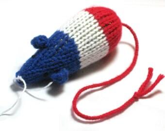 Knit Catnip Mouse as a Bomb Pop Popsicle