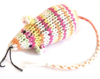 Knit Catnip Mouse Cat Toy in Bright Tropical Cotton Yarn
