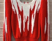 Retro Red and White Wool Blend Sweater, size Med