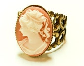 Vintage Coral Cameo Silhouette Ring