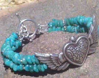 Silver winged heart and genuine turquoise beaded bracelet