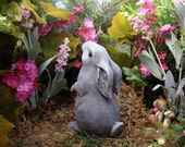 Moon Gazing Hare Sculpture Baby Bunny Pagan Statue