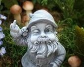 Garden Gnome Flipping The Bird, Concrete Rude Garden Gnomes  for Sale
