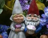 Bride and Groom Cake Topper - Custom Garden Gnomes