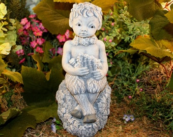 Pan Statue   Concrete Baby Satyr Faun Pagan God Playing His Flute