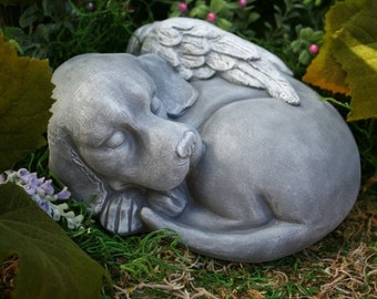 Dog Angel Statue - Beautiful Pet Memorial Garden Sculpture