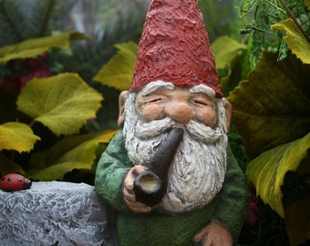 Garden Gnome Smoking His Pipe LARGE Concrete Welcome Statue